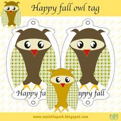 Free printable owl hanger tag: happy fall ♥ ausdruckbare Eulen-Anhänger ♥ freebie  