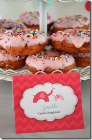Chevron Elephant Baby Shower_Top Pot Sprinkles Doughnuts & Food Tent Card