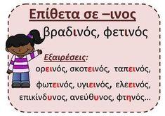 Epitheta se - kos -inos -imos by PrwtoKoudouni English Language Learning, Teaching English, Kids Education, Special Education, Learn Greek, Teaching Literature, Greek Language, Learning Disabilities, Greek Quotes