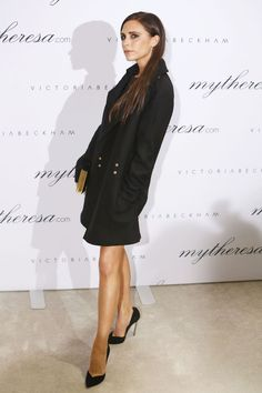 She celebrated the launch of an exclusive collection of her bags on mytheresa.com at an event in Munich, where she wore a Victoria Beckham coat.