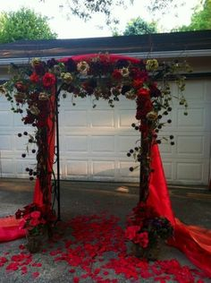 Just finished my wedding arch for my fall outdoor ceremony! : wedding aisle arbor arch ceremony diy flowers outdoor ceremony purple Wedding Arch Front View LOVE this Wedding Themes, Diy Wedding, Wedding Ceremony, Rustic Wedding, Dream Wedding, Trendy Wedding, Black Red Wedding, Wedding Gazebo, Gothic Wedding Ideas