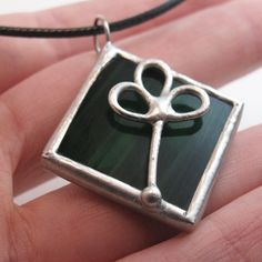 Clover  Stained Glass Pendant with Black Cord by faerieglass