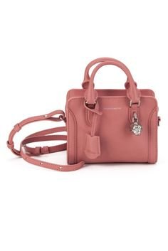 ALEXANDER MCQUEEN Grain Calfskin Mini Padlock Bag. #alexandermcqueen #bags #shoulder bags #hand bags #lining