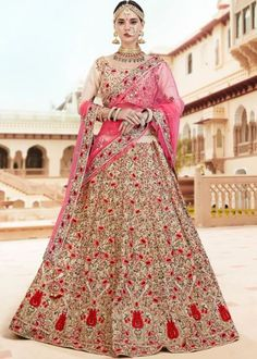 Bisque cream lehenga choli with dupatta. Work - Hand work with zardosi work on lehenga, choli and dupatta. To complete the look matching choli and dupatta is available with this p Pink Lehenga, Bridal Lehenga Choli, Lehenga Saree, Indian Wedding Lehenga, Indian Weddings, Simple Lehenga, Lehenga Collection, Dress Collection, Jewelry Collection