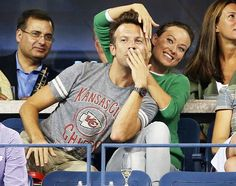 World's Happiest Couple Olivia Wilde and fiance Jason Sudeikis goofed off inside Emirates Airline Suite at the U.S Open 2013 in NYC Aug. 26.