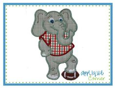 Elephant Boy Standing Applique Design