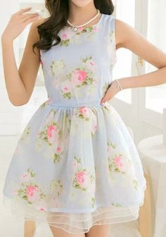 Blue Floral Sleeveless Chiffon Mini Dress