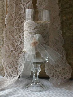 Burlap with vintage lace centerpieces for candles by Bannerbanquet, $16.70