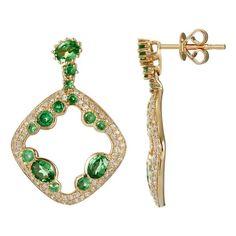 Tsavorite Garnet & Diamond Earrings
