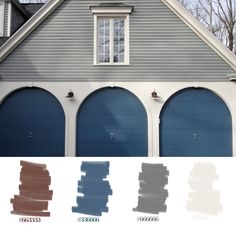 house exterior, grey, white but with blue/green door!