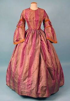SIlk plaid day dress, ca. 1858. | In the Swan's Shadow