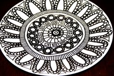 Black and White Hand Drawn Dinner Plate with Pattern. $30.00, via Etsy.