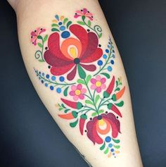 These folk art tattoos are eerily reminiscent of some vintage fabric that might .These folk art tattoos are eerily reminiscent of some vintage fabric that might be lingering around your grandmother's house. Pretty Tattoos, Beautiful Tattoos, Body Art Tattoos, New Tattoos, Tatoos, Small Tattoos, Hungarian Tattoo, Hungarian Embroidery, Folk Embroidery