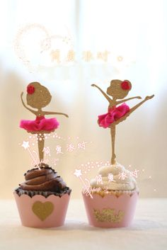 I Pair Ballerina Girl Red Skirt Cake Topper Party Golden Decoration Glitter Top | eBay