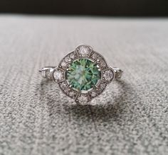 Estate Halo Blue Green Moissanite Diamond Antique by PenelliBelle
