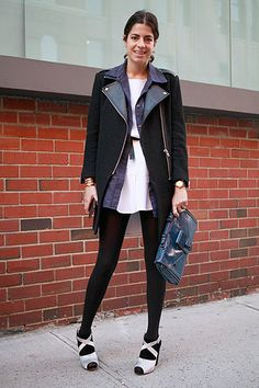 Leandra Medine aka The Man Repeller in black opaque tights - the ultimate styling essential.