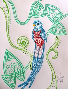 Art Every Day #41  quetzal paisley