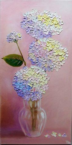Hydrangea Original oil impasto painting blue flowers on