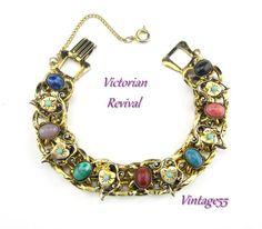 Bracelet Victorian Revival Gold tone Hearts Turquoise 1950