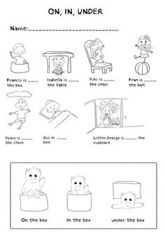 Free Worksheet at  http://biggeorgebook.jimdo.com/   #englishvocabulary #blackboard #classroomideas #BigGeorgeBooks  #children'sbook #cute monsters #pinkmonster #bigfoot #oninunder #prepositions
