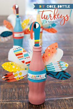 crafts diy coke Thanksgiving Craft: Colorful Coke Bottle Turkeys // Hostess with the Mostess® Thanksgiving Centerpiece Diy Kids, Thanksgiving Crafts For Kids, Fall Crafts, Holiday Crafts, Coke Bottle Crafts, Medicine Bottle Crafts, Classroom Crafts, Preschool Crafts, Kids Crafts