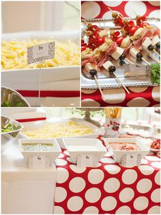 holiday dinner party -- christmas pasta bar idea