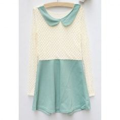 $6.85 Cute Doll Collar Color Block Long Sleeved Spring Dresses For Women