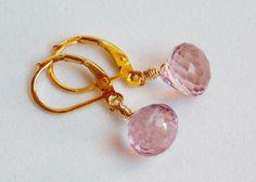 Mystic Pink Quartz, Lever Back Dangle Earrings on Etsy, $38.00
