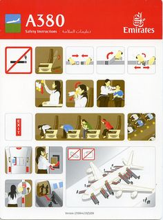 The daddy of all infographics - the airplane safety card! These have to work for global citizens of all reading ages and give clear information in seconds. Communications in airports and on planes are based on a shared visual language that we've all grown used to - imaging what you can do if you import some of these ideas into your own infographic work!