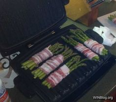 Bacon wrapped asparagus cooked on a panini maker~For The Win!