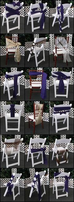 Creative ways to tie chair ties! Make your event decor one of kind with your own special twist to your chair sashes. Wedding Ceremony Chairs, Wedding Chair Decorations, Wedding Table, Chair Ties, Chair Sashes, Party Chairs, Love Chair, Head Tables, Chair Covers