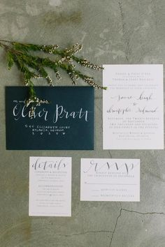 loving this beautiful #calligraphy on navy envelopes by @OnceWed