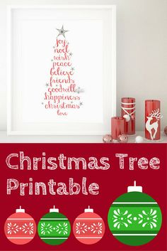Darling Christmas Tree Printable | Digital Download | Christmas Wall Art | Holiday Wall Art #ad