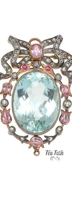 ❇Téa Tosh❇Aquamarine, Sapphire & Diamond Brooch