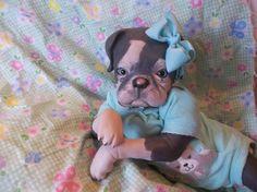 REBORN DARK GRAY DOG PUPPY ART DOLL OOAK PUP BABY PRINCESS PUG GIRL #rebornrealisticPUPPYDOLLPRINCESSKIT ~ Oh my stars.  I've never seen one.  I want a newborn reborn doll, but have never seen a dog.  Maybe someday.  ...