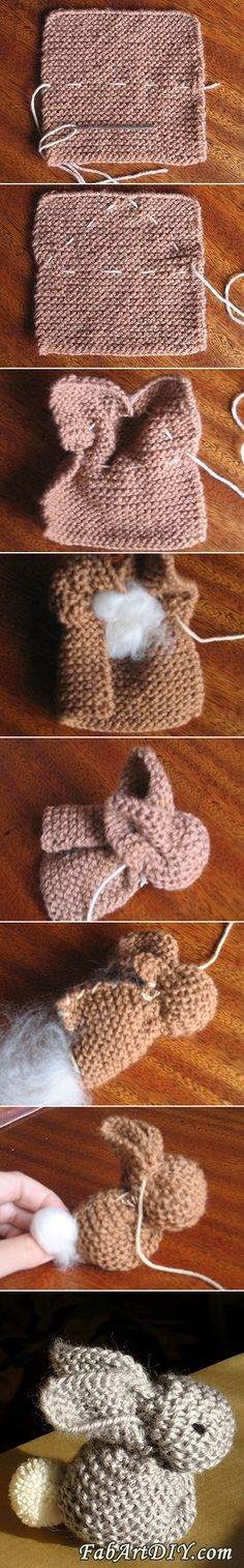 Knitted Bunny DIY | www.FabArtDIY.com LIKE Us on Facebook ==> https://www.facebook.com/FabArtDIY