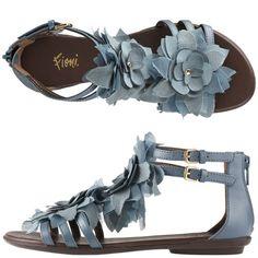 Fioni - Peacock Flower Gladiator Sandal-Every Color Plz! Cute Sandals, Cute Shoes, On Shoes, Me Too Shoes, Shoe Boots, Dress Shoes, Shoe Bag, Flat Shoes, Shoes Sandals