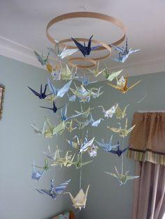 56 ideas origami crane design mobiles for 2019 Origami Design, Diy Origami, Origami Paper Crane, Useful Origami, Origami Cranes, Paper Cranes, Origami Birds, Origami Animals, Origami Pokemon