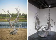 Monumental Splashes of Stainless Steel Calligraphy by Zheng Lu  http://www.thisiscolossal.com/2015/10/steel-splashes-zheng-lu/