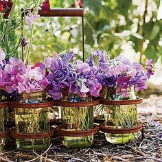 sweet peas in mason jars.  Oh, how I love these flowers....as my Mom did....