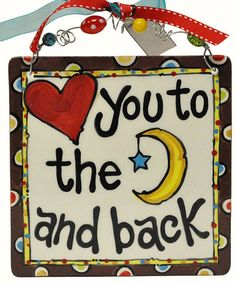 Another great find on 'Love You to the Moon' Tile Art by Glory Haus Ceramic Tile Crafts, Ceramic Art, Pottery Painting, Ceramic Painting, Painted Pottery, Rock Painting, Hand Painted Canvas, Canvas Art, Canvas Ideas