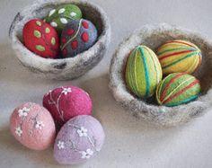 Needle felted eggs by The Lady Moth set of 3 - spring eggs decor - Easter egg - egg nest - folklore eggs - decorated eggs - blossom egg - UK