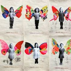 Butterfly activities: Take children's photo. They glue to their paper, then Butterfly activities: Take children's photo. They glue to their paper, then … Diy Crafts For Kids, Projects For Kids, Art For Kids, Art Projects, Arts And Crafts, Art Children, Fun Crafts, Kindergarten Art, Preschool Art