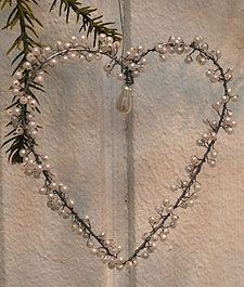 Heart with Pearls  - I'd prefer a crystal drop, and perhaps other beads (or maybe pearls are best - pearls dyed blue would be nice, especially on white wire heart) (inspiration)  ************************************************   Grand Illusions - #Christmas #ornament #shabby #chic #heart #wire #pearls #handmade - tå√