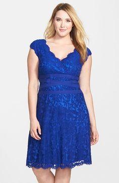 Tadashi Shoji Embroidered Lace Fit & Flare Dress (Plus Size)