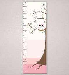 Tree And Owl Growth Chart, Kids Room, Children's Art 10 X 30, Nursery, Home Decor, Art Print, Baby, Gift