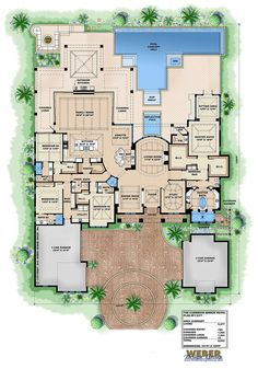 single-story luxury home | 4 en suite bedrooms (split), powder, pool bath, attached 3-car garage, detached 2-car garage, study, covered outdoor living areas