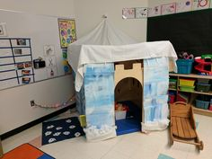Igloo we built with the kids in class. Inspired by Pinterest but not quite the same. Mini fire and and Polar animals inside as we are studying polar regions this month. Also there is a magnetic fishing game on the side. Super fun and the kids even helped paint it !