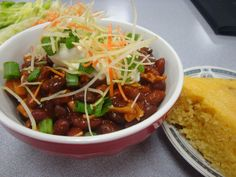 Turkey Chili With Cornbread cooked in rice cooker together