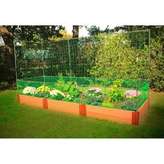 Composite Raised Garden with Veggie Wall & Animal Barrier - 4' x 12' x 12""